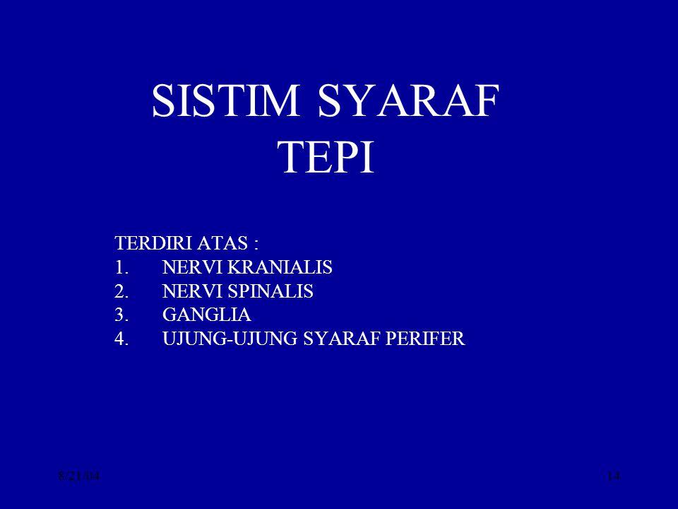 SISTIM SYARAF TEPI TERDIRI ATAS : NERVI KRANIALIS NERVI SPINALIS