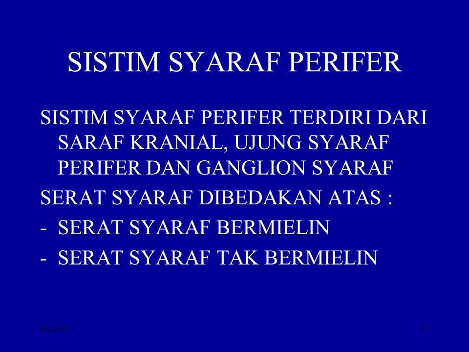 SISTIM SYARAF PERIFER SISTIM SYARAF PERIFER TERDIRI DARI SARAF KRANIAL, UJUNG SYARAF PERIFER DAN GANGLION SYARAF.