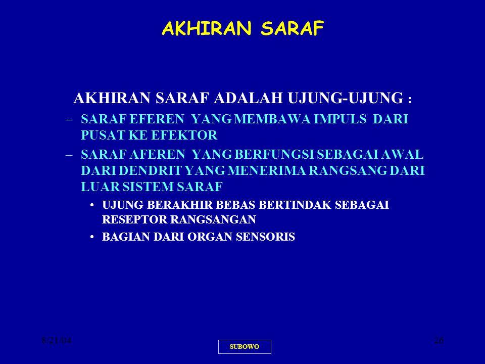 AKHIRAN SARAF ADALAH UJUNG-UJUNG :