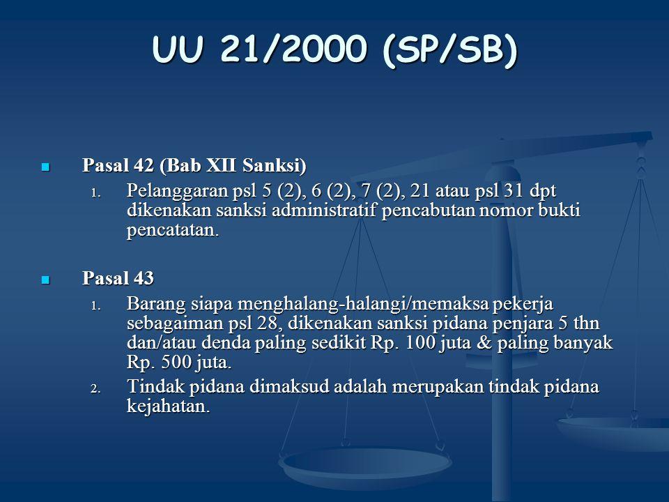 UU 21/2000 (SP/SB) Pasal 42 (Bab XII Sanksi)