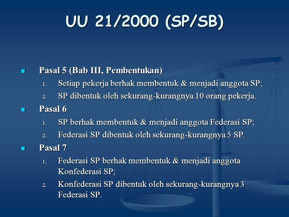 UU 21/2000 (SP/SB) Pasal 5 (Bab III, Pembentukan) Pasal 6 Pasal 7