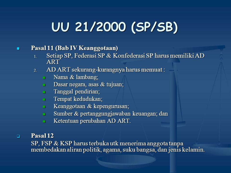 UU 21/2000 (SP/SB) Pasal 11 (Bab IV Keanggotaan)