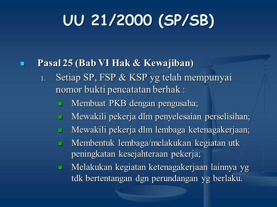 UU 21/2000 (SP/SB) Pasal 25 (Bab VI Hak & Kewajiban)