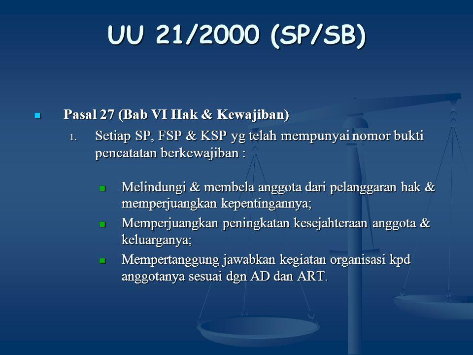 UU 21/2000 (SP/SB) Pasal 27 (Bab VI Hak & Kewajiban)