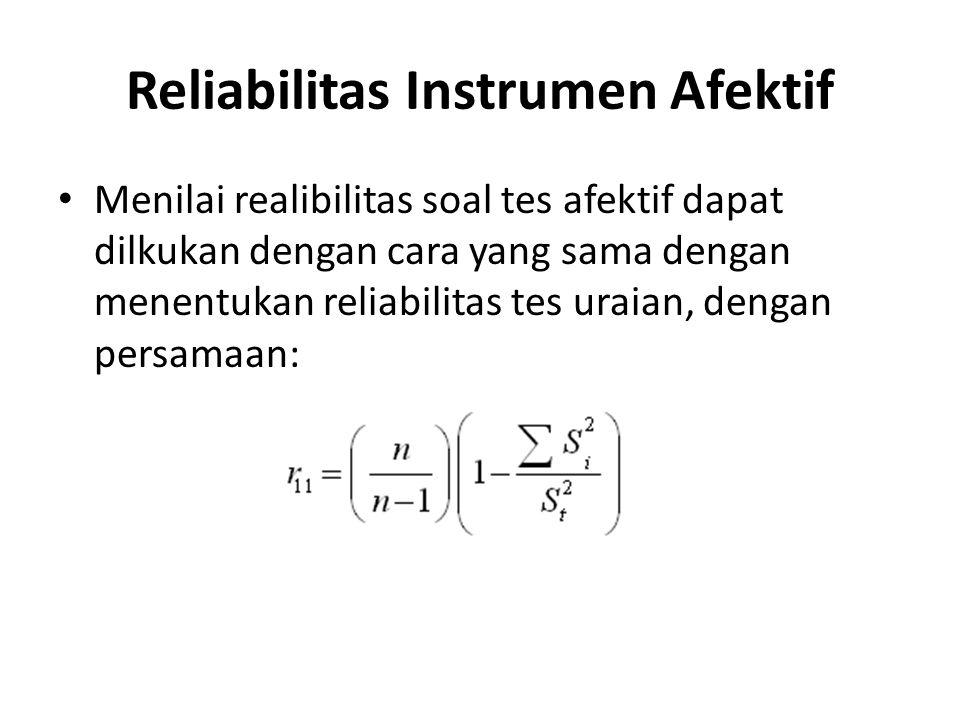 Reliabilitas Instrumen Afektif