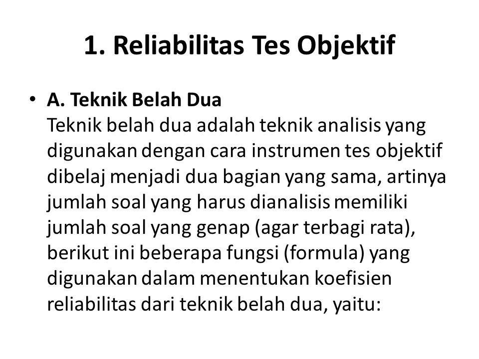 1. Reliabilitas Tes Objektif