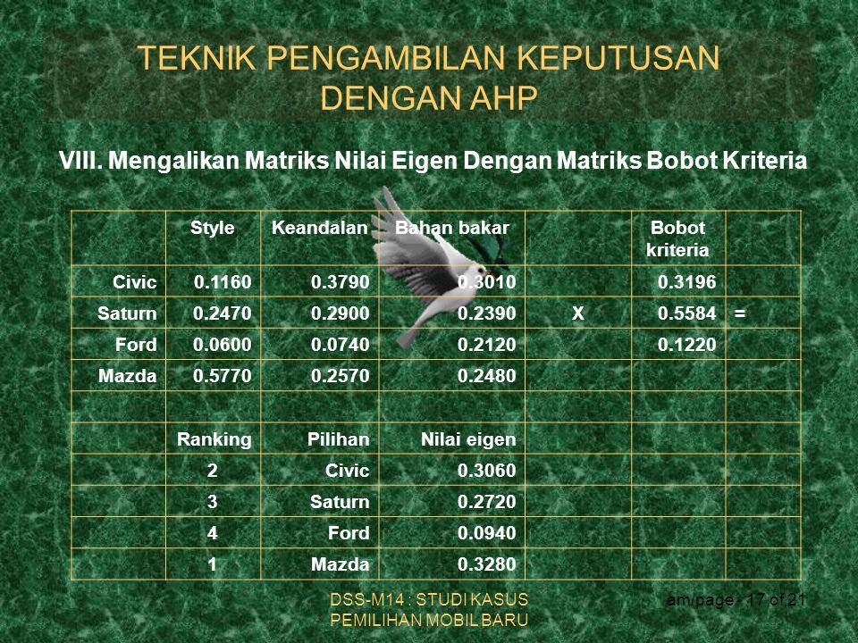 DSS-M14 : STUDI KASUS PEMILIHAN MOBIL BARU