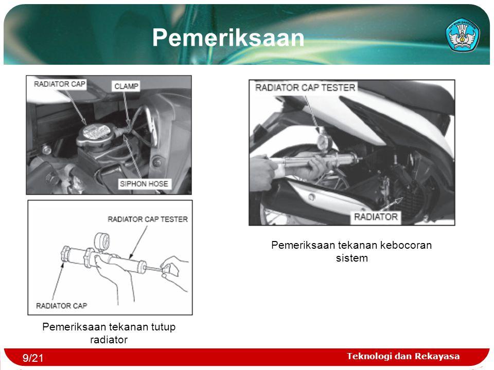 Pemeriksaan Pemeriksaan tekanan kebocoran sistem