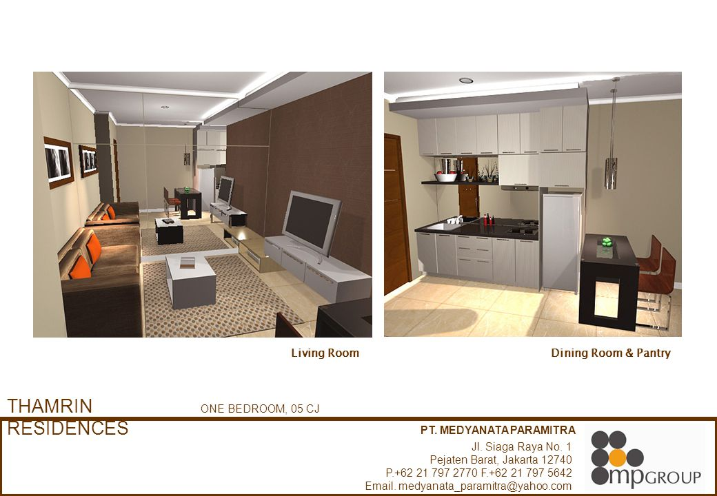 THAMRIN RESIDENCES Living Room Dining Room & Pantry ONE BEDROOM, 05 CJ