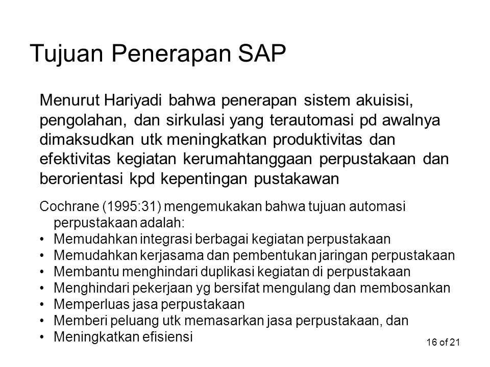 Tujuan Penerapan SAP