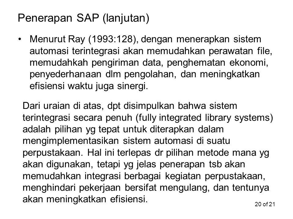Penerapan SAP (lanjutan)