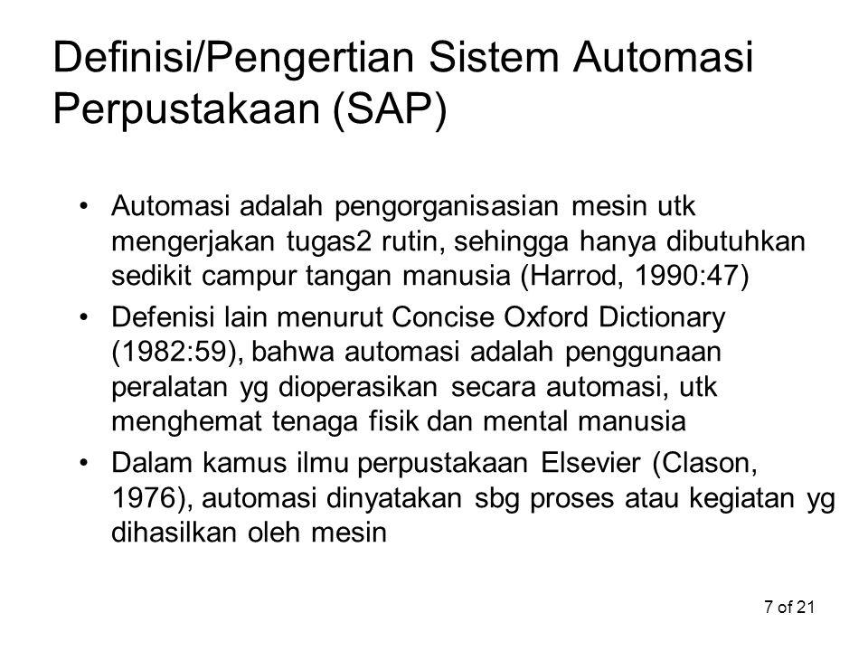 Definisi/Pengertian Sistem Automasi Perpustakaan (SAP)