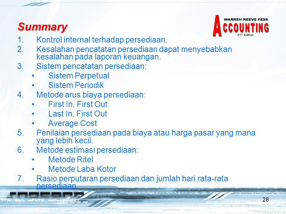 Summary Kontrol internal terhadap persediaan.