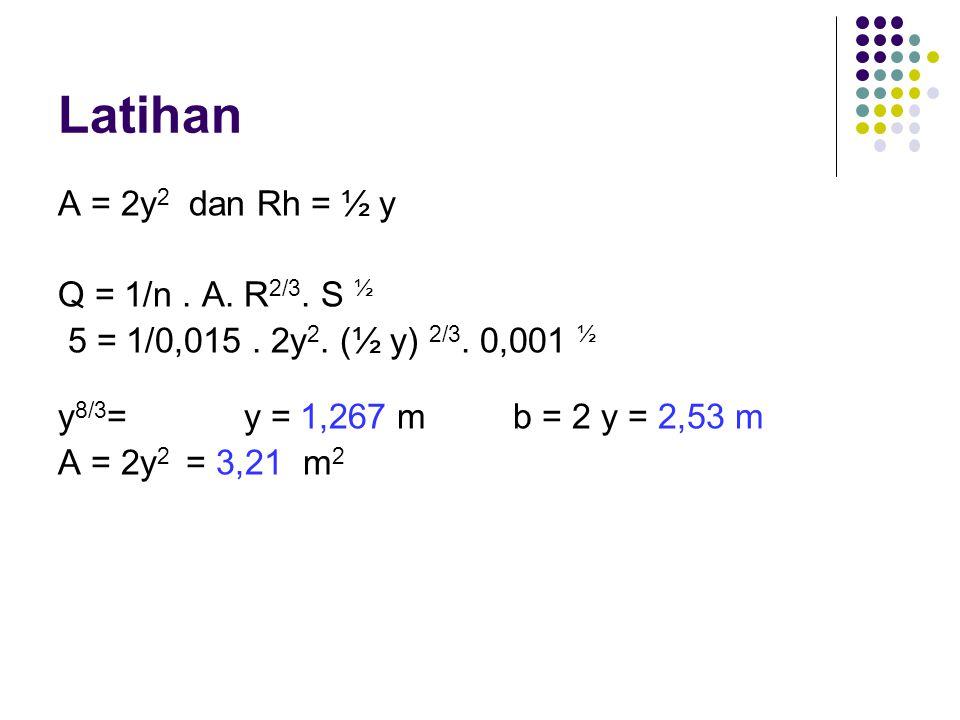 Latihan A = 2y2 dan Rh = ½ y Q = 1/n . A. R2/3. S ½