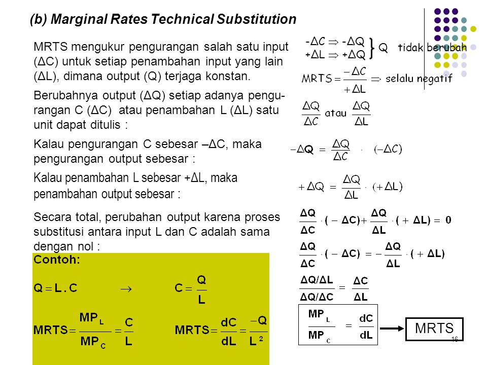 (b) Marginal Rates Technical Substitution