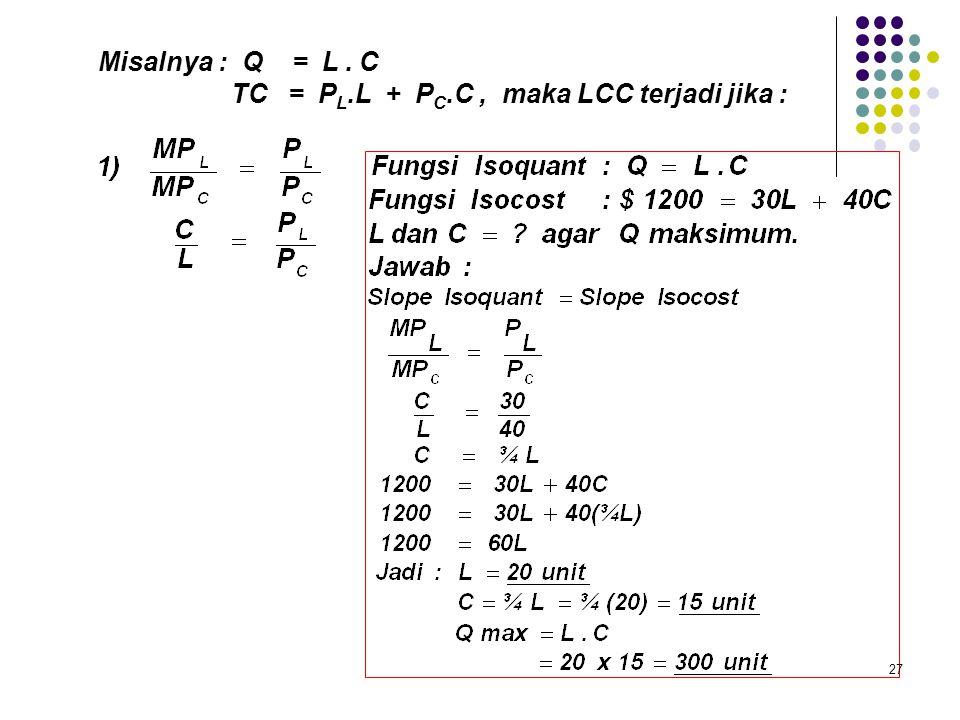 Misalnya : Q = L . C TC = PL.L + PC.C , maka LCC terjadi jika :