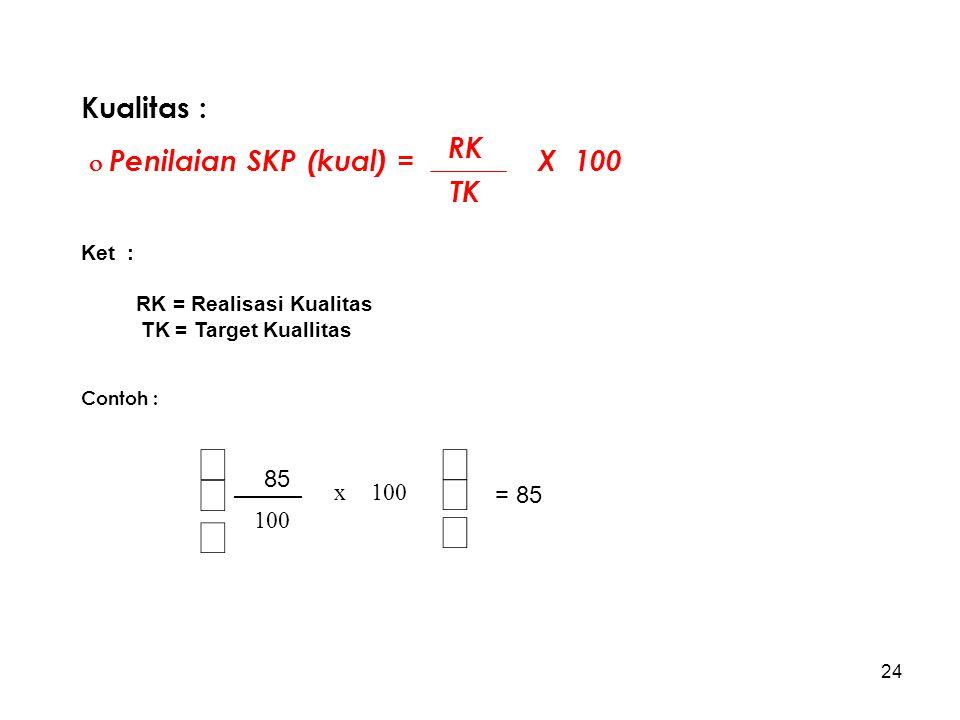 ÷ ø ö ç è æ Kualitas :  Penilaian SKP (kual) = X 100 RK TK 100 x 85