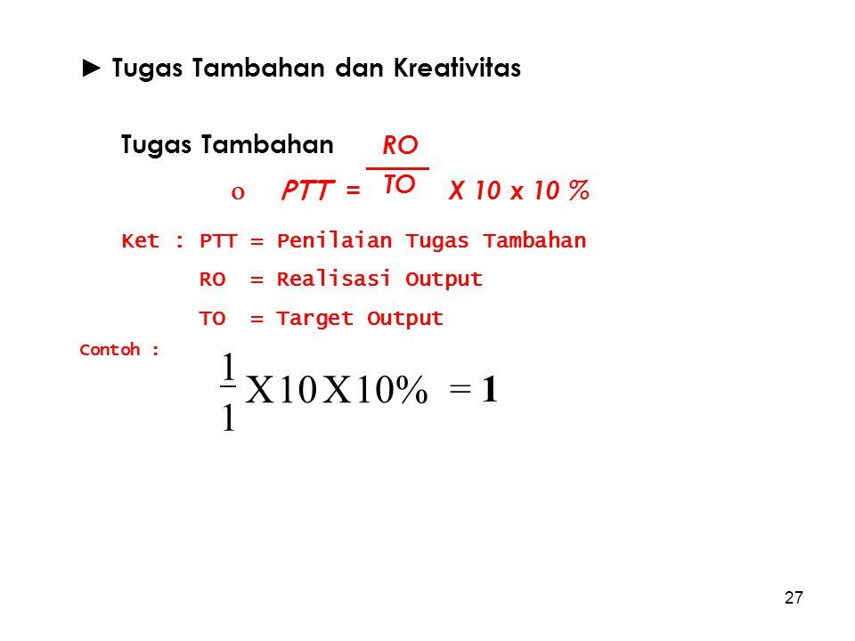 10% X 10 1 = 1 ► Tugas Tambahan dan Kreativitas Tugas Tambahan