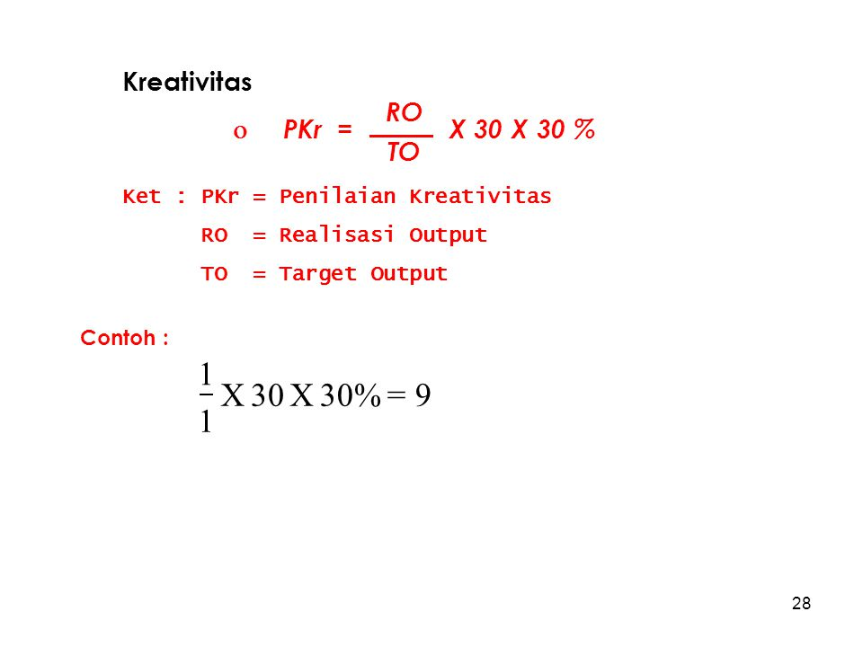 30% X 30 1 = 9 Kreativitas  PKr = X 30 X 30 % RO TO