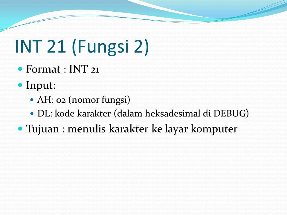 INT 21 (Fungsi 2) Format : INT 21 Input: