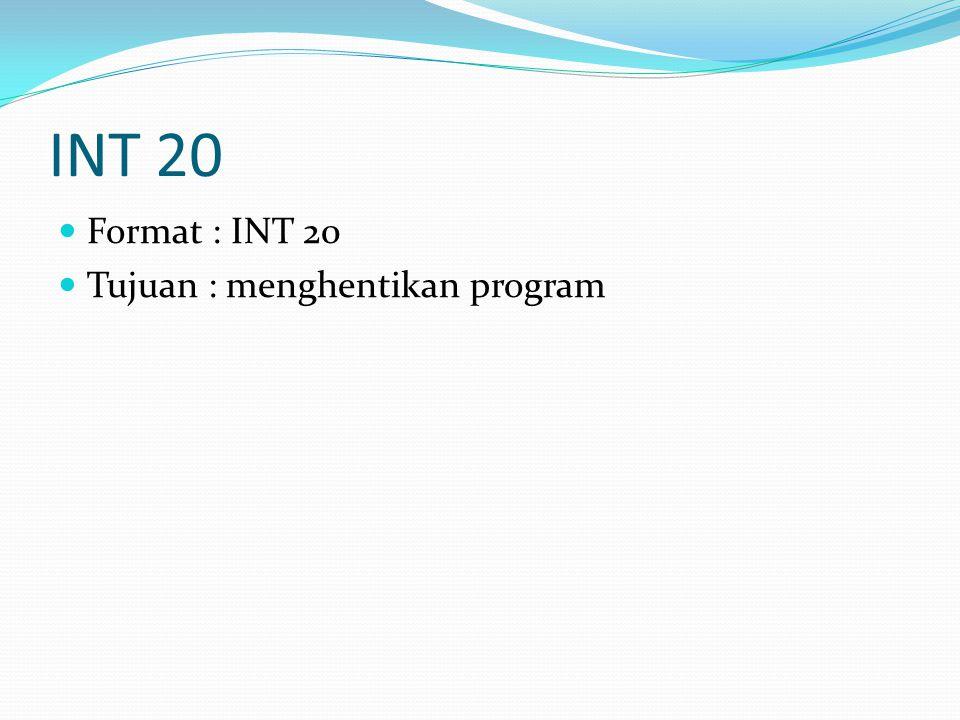 INT 20 Format : INT 20 Tujuan : menghentikan program