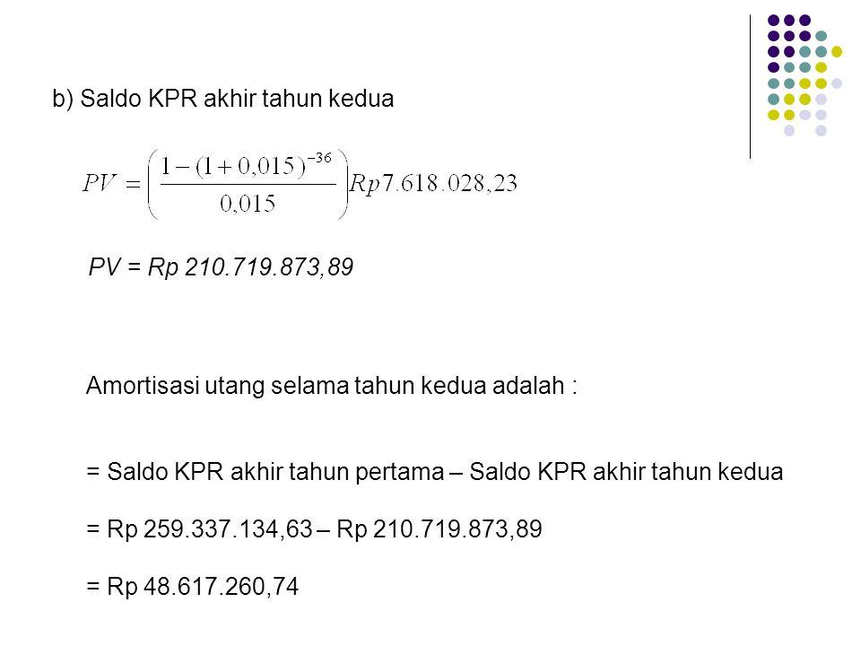 b) Saldo KPR akhir tahun kedua