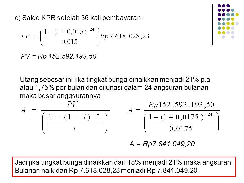A = Rp7.841.049,20 c) Saldo KPR setelah 36 kali pembayaran :