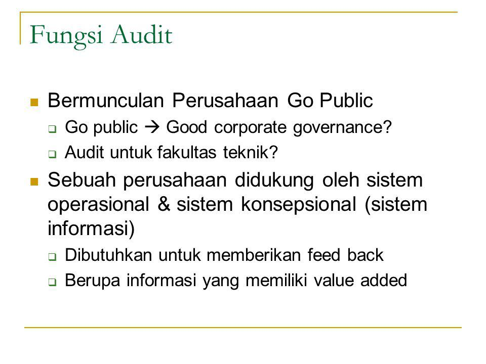 Fungsi Audit Bermunculan Perusahaan Go Public