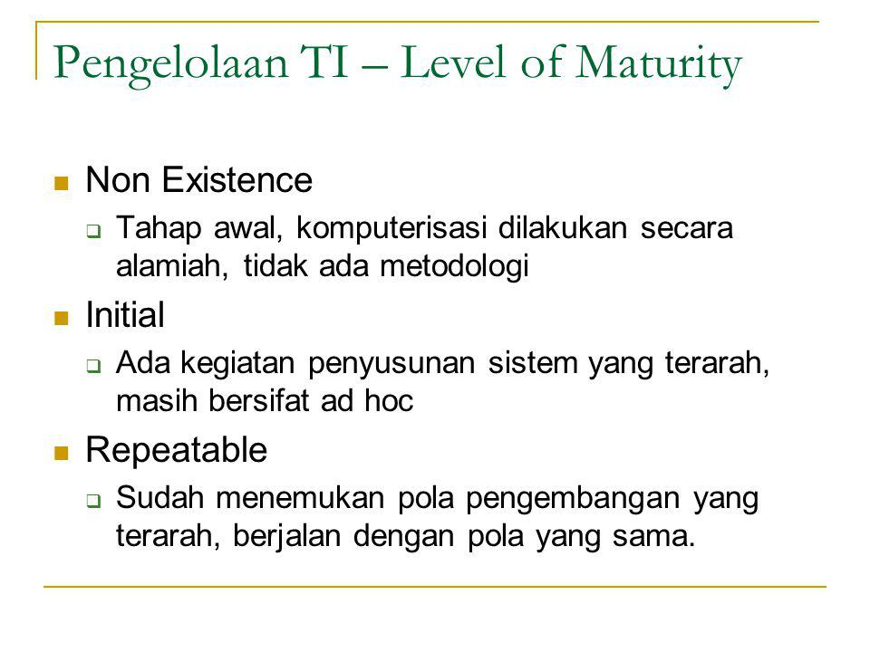 Pengelolaan TI – Level of Maturity