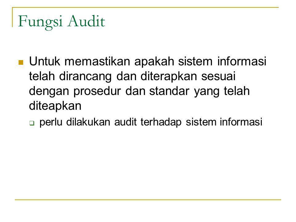 Fungsi Audit Untuk memastikan apakah sistem informasi telah dirancang dan diterapkan sesuai dengan prosedur dan standar yang telah diteapkan.