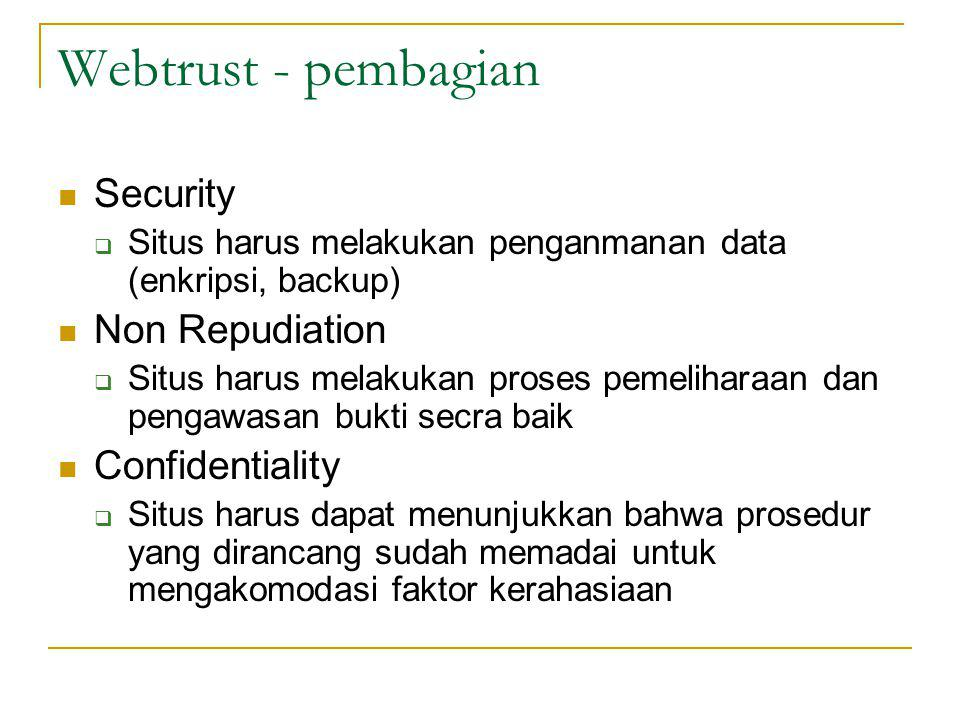 Webtrust - pembagian Security Non Repudiation Confidentiality