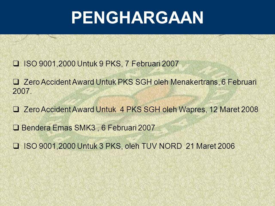 PENGHARGAAN ISO 9001,2000 Untuk 9 PKS, 7 Februari 2007