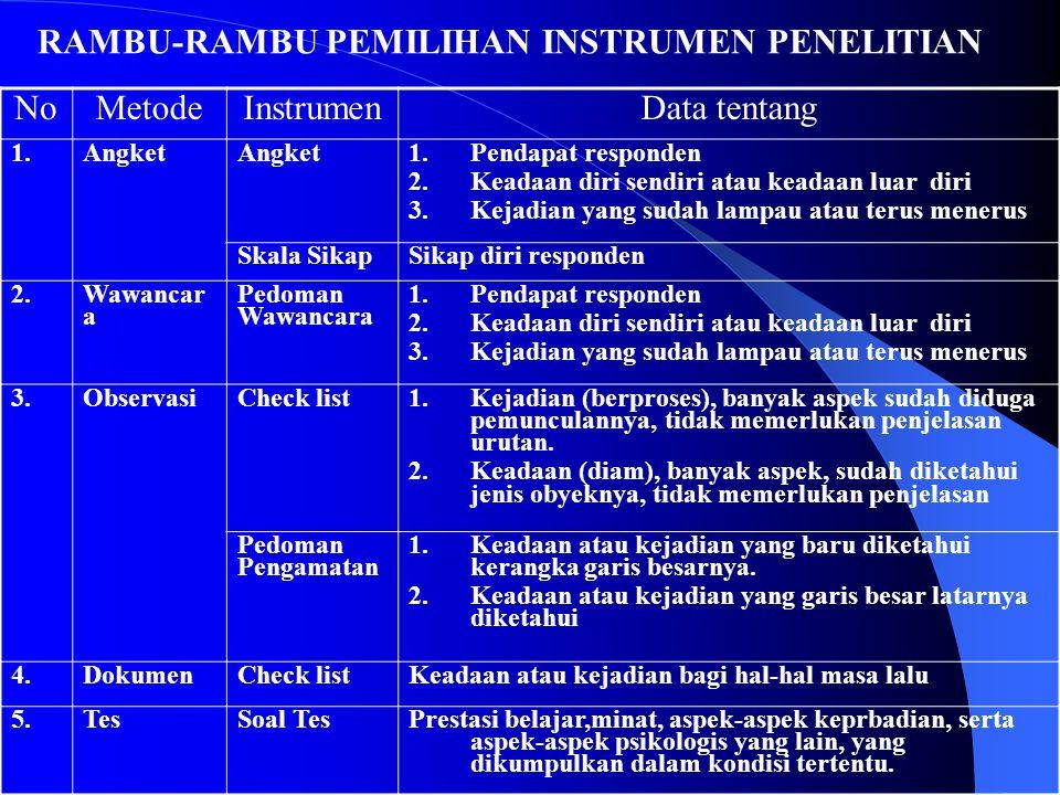 RAMBU-RAMBU PEMILIHAN INSTRUMEN PENELITIAN No Metode Instrumen