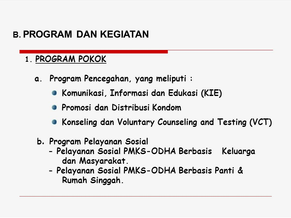 a. Program Pencegahan, yang meliputi :