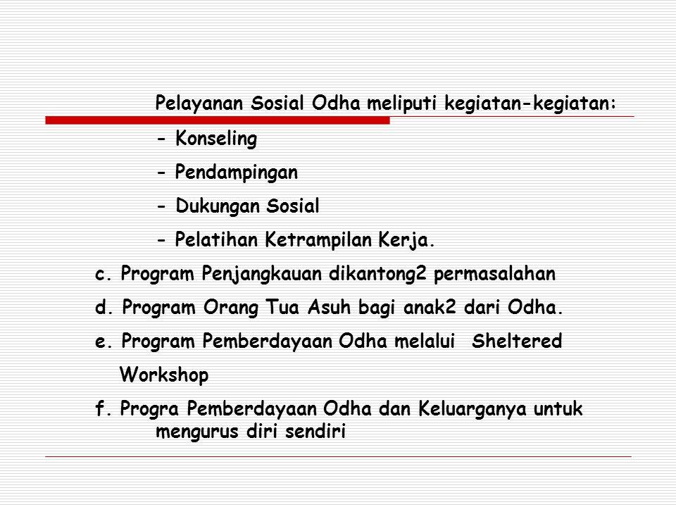 Pelayanan Sosial Odha meliputi kegiatan-kegiatan: