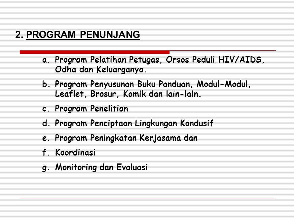 2. PROGRAM PENUNJANG Program Pelatihan Petugas, Orsos Peduli HIV/AIDS, Odha dan Keluarganya.