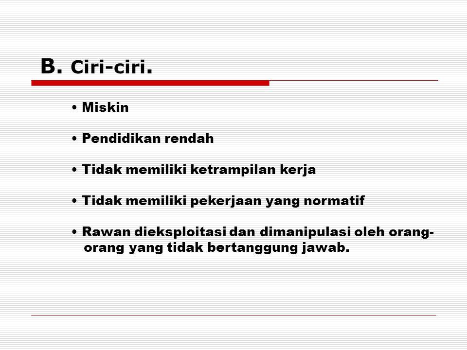 B. Ciri-ciri. Miskin Pendidikan rendah