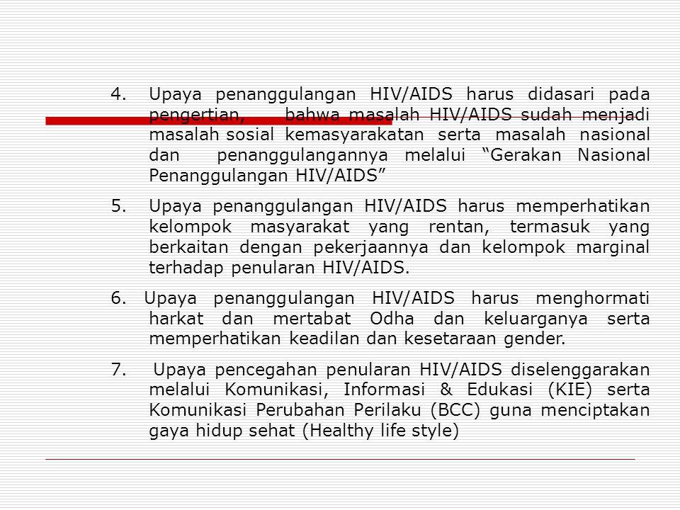 4. Upaya penanggulangan HIV/AIDS harus didasari pada. pengertian,