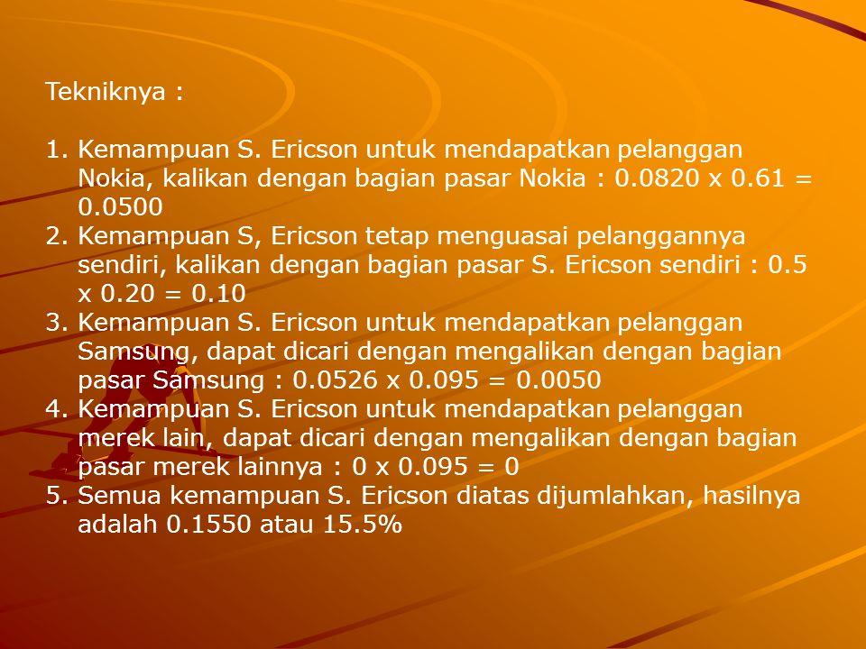 Tekniknya : Kemampuan S. Ericson untuk mendapatkan pelanggan Nokia, kalikan dengan bagian pasar Nokia : 0.0820 x 0.61 = 0.0500.