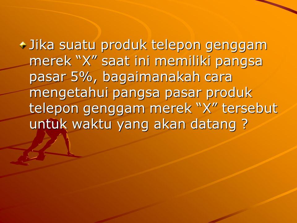 Jika suatu produk telepon genggam merek X saat ini memiliki pangsa pasar 5%, bagaimanakah cara mengetahui pangsa pasar produk telepon genggam merek X tersebut untuk waktu yang akan datang
