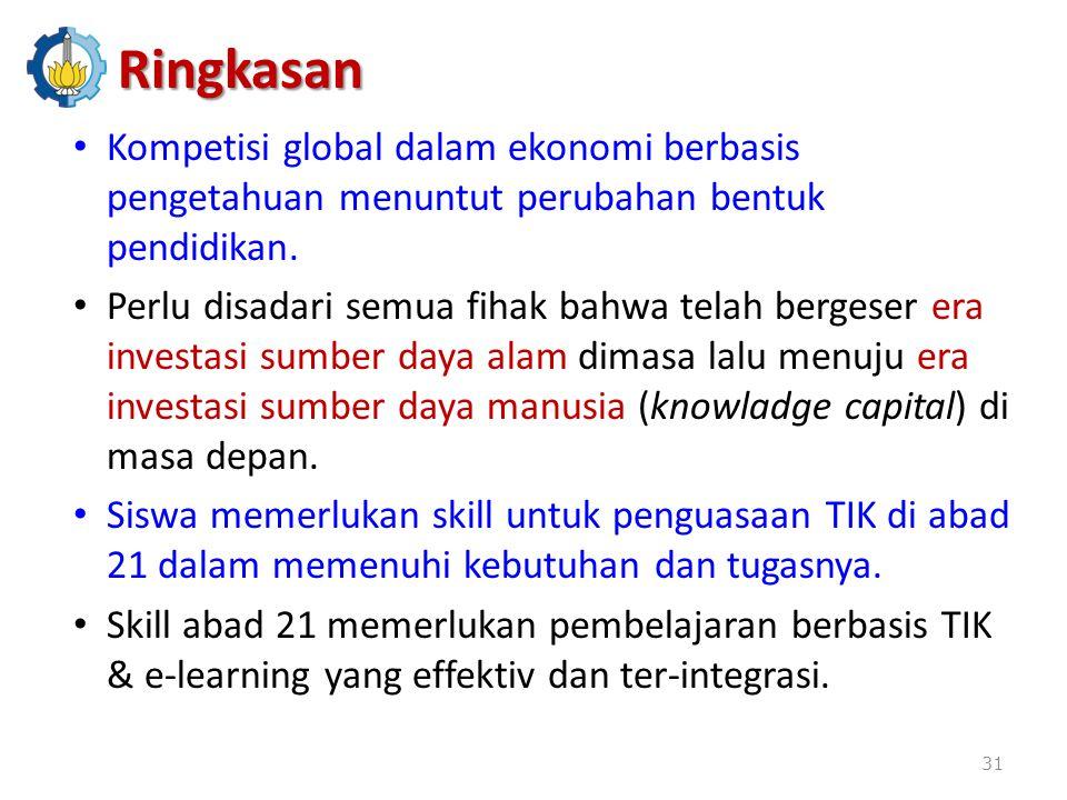 Ringkasan Kompetisi global dalam ekonomi berbasis pengetahuan menuntut perubahan bentuk pendidikan.