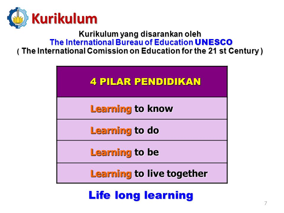 Kurikulum Life long learning 4 PILAR PENDIDIKAN Learning to know