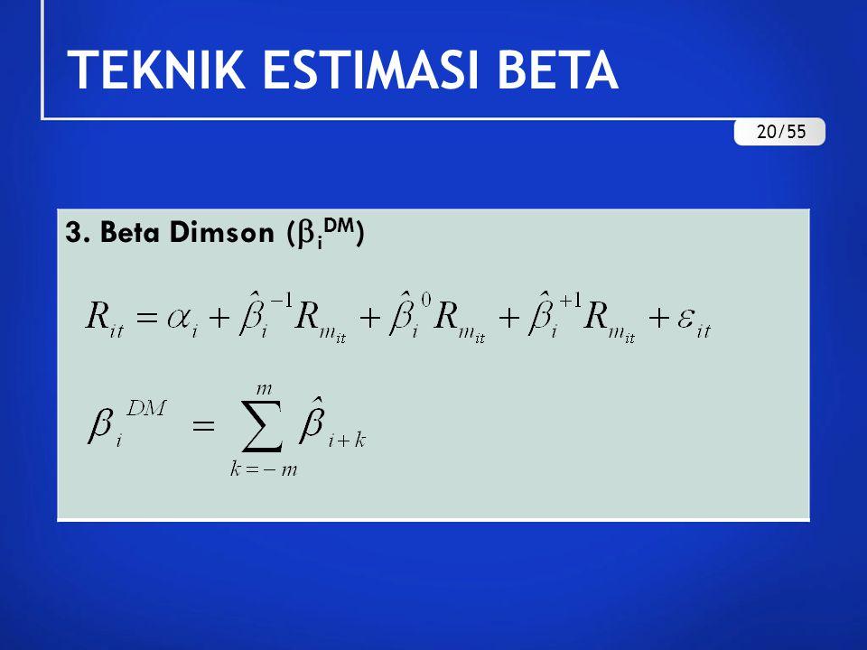 TEKNIK ESTIMASI BETA 20/55 3. Beta Dimson (iDM)