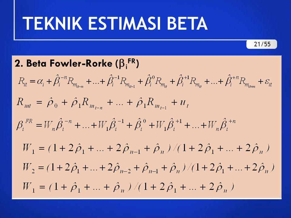 TEKNIK ESTIMASI BETA 21/55 2. Beta Fowler-Rorke (iFR)