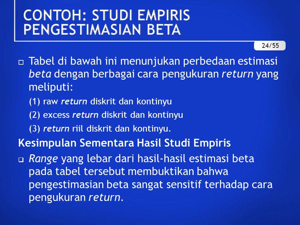 CONTOH: STUDI EMPIRIS PENGESTIMASIAN BETA