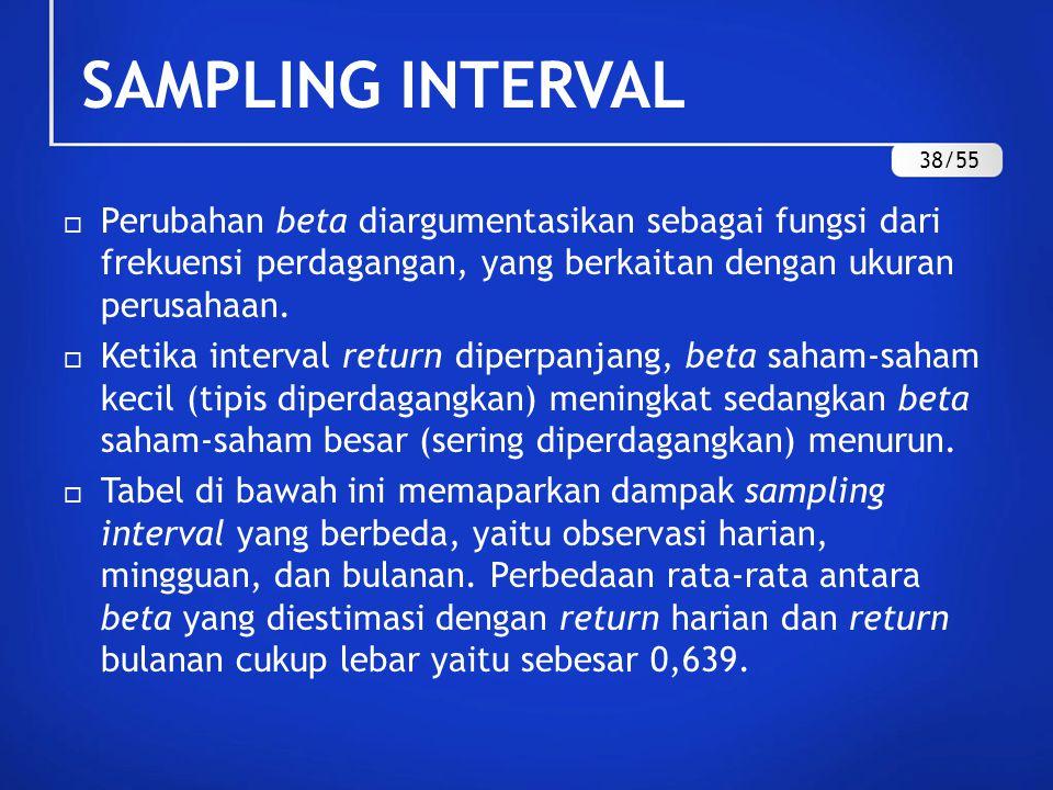 SAMPLING INTERVAL 38/55. Perubahan beta diargumentasikan sebagai fungsi dari frekuensi perdagangan, yang berkaitan dengan ukuran perusahaan.