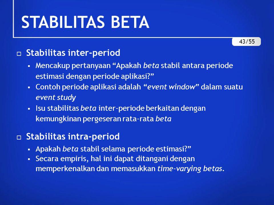 STABILITAS BETA Stabilitas inter-period Stabilitas intra-period