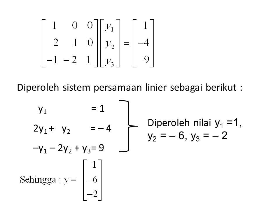 Diperoleh sistem persamaan linier sebagai berikut :
