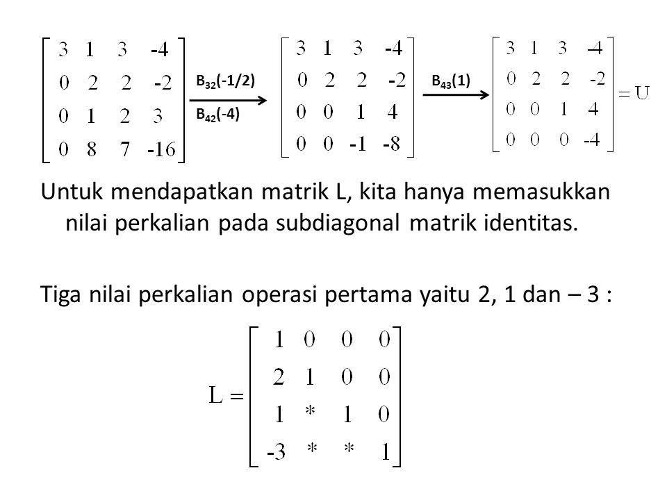 Untuk mendapatkan matrik L, kita hanya memasukkan nilai perkalian pada subdiagonal matrik identitas. Tiga nilai perkalian operasi pertama yaitu 2, 1 dan – 3 :