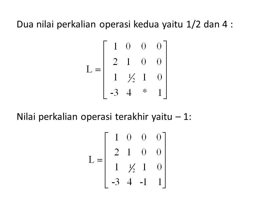 Dua nilai perkalian operasi kedua yaitu 1/2 dan 4 : Nilai perkalian operasi terakhir yaitu – 1: